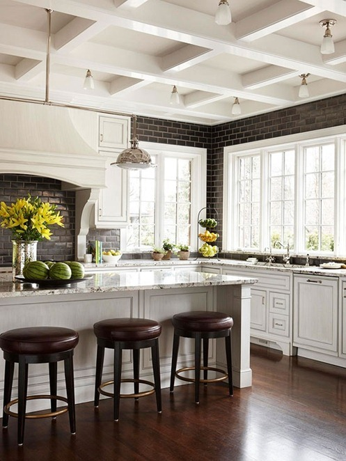 black tile white kitchen bhg