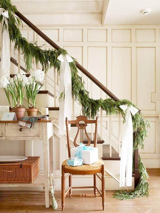 evergreen garland on stairs