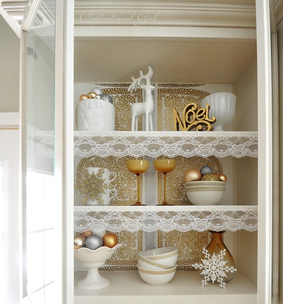 lace lined cabinet