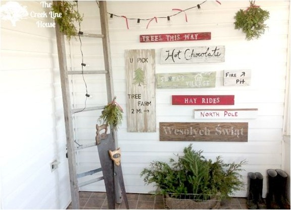 tree farm inspired sign wall creeklinehouse