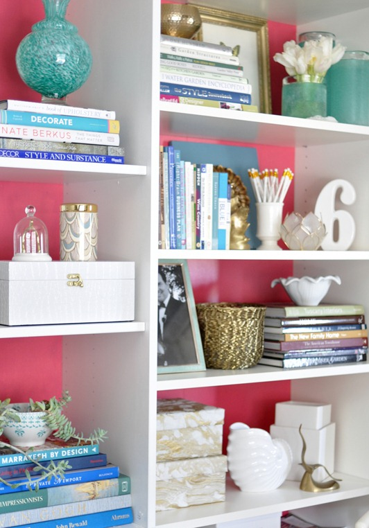 pink backed bookcases