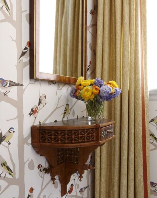 antique shelf in powder room sarah richardson