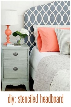 diy stenciled headboard