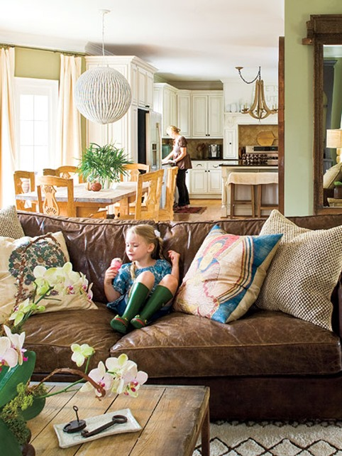 leather sofa in family room southern living