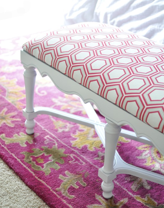 pink honeycome fabric on bench