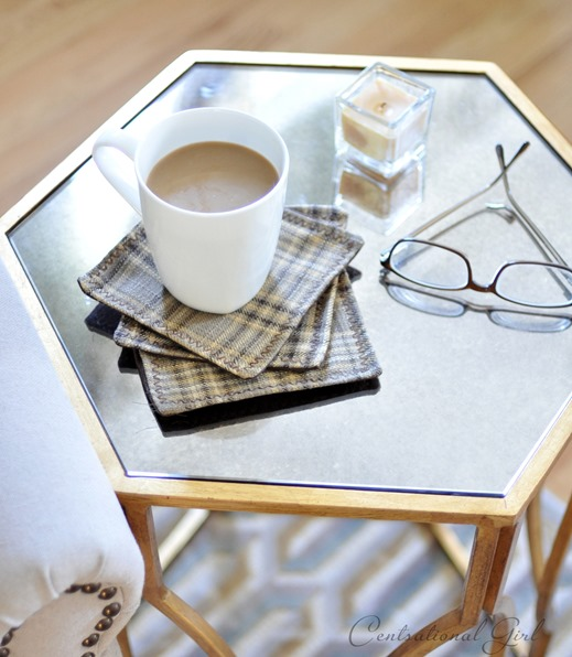 plaid coasters diy