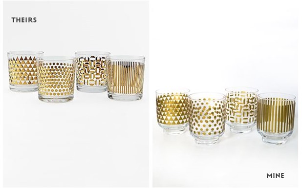 sarah hearts metallic gold glassware