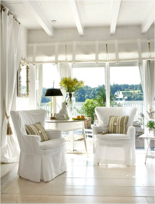cottage style white living space