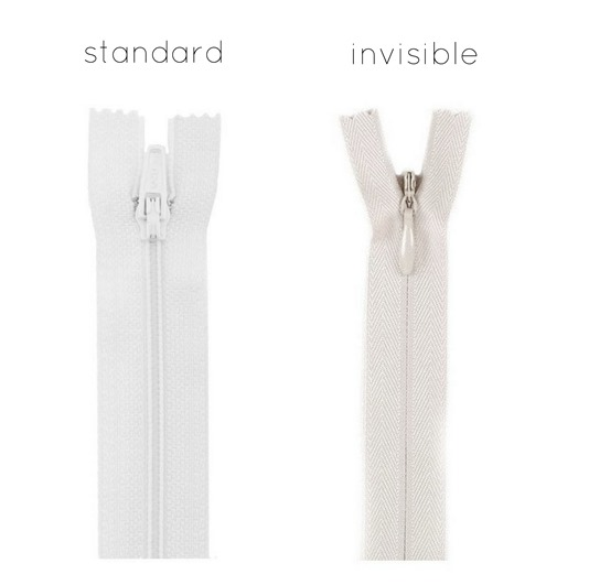 standard and invisible zippers