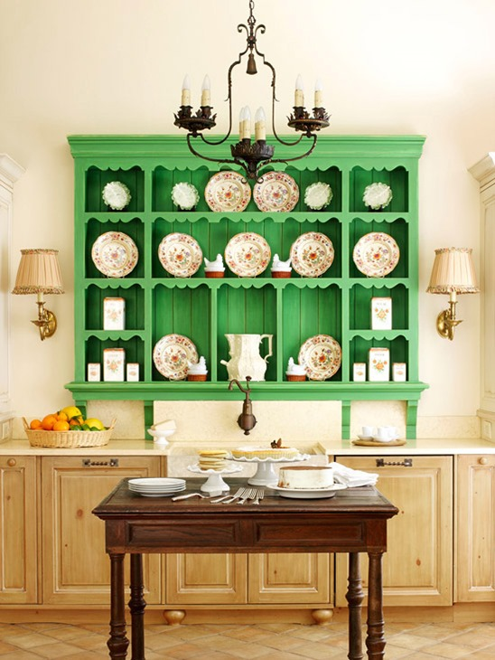 green kitchen hutch bhg