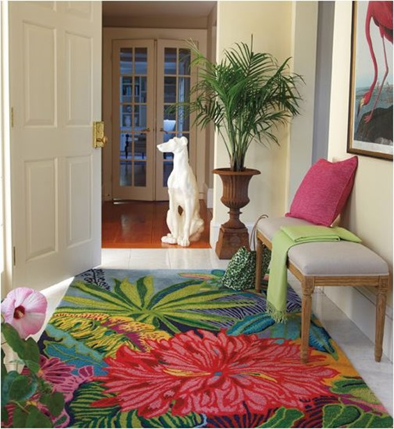 tropical floral rug
