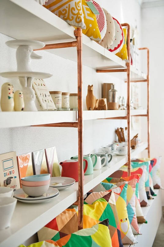 copper tube shelving
