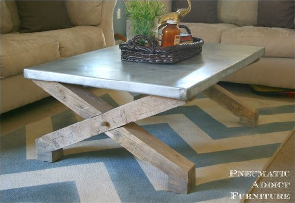 zinc top coffee table diy