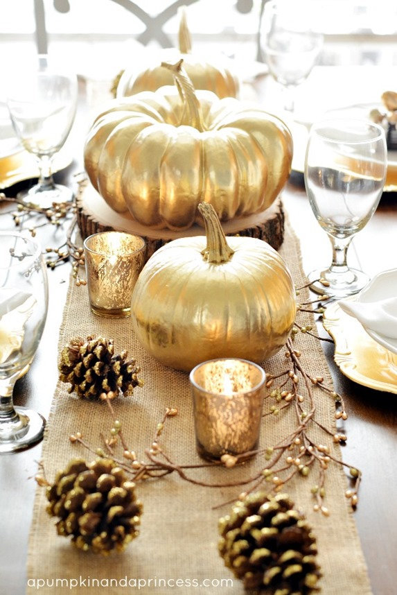 golden pumpkins tablescape