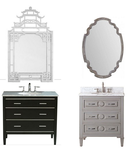 bathroom vanity and mirror combo