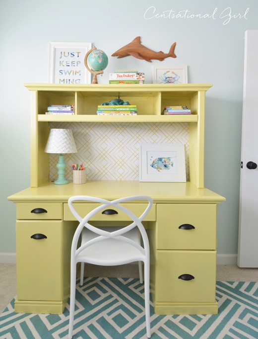 yellow painted desk hutch