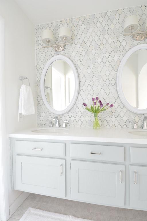 Master bathroom vanity makeover centsational girl - Bathroom vanity mirror side lights ...