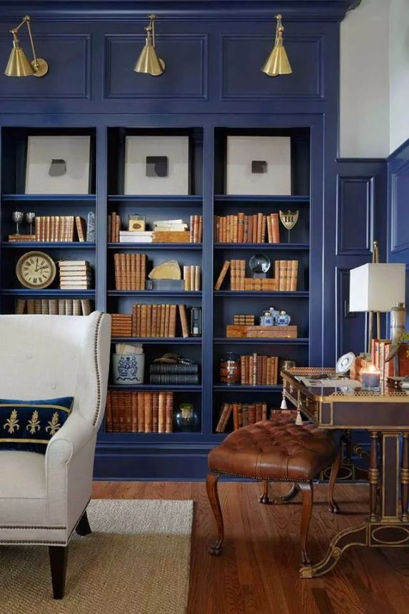 navy blue bookcases