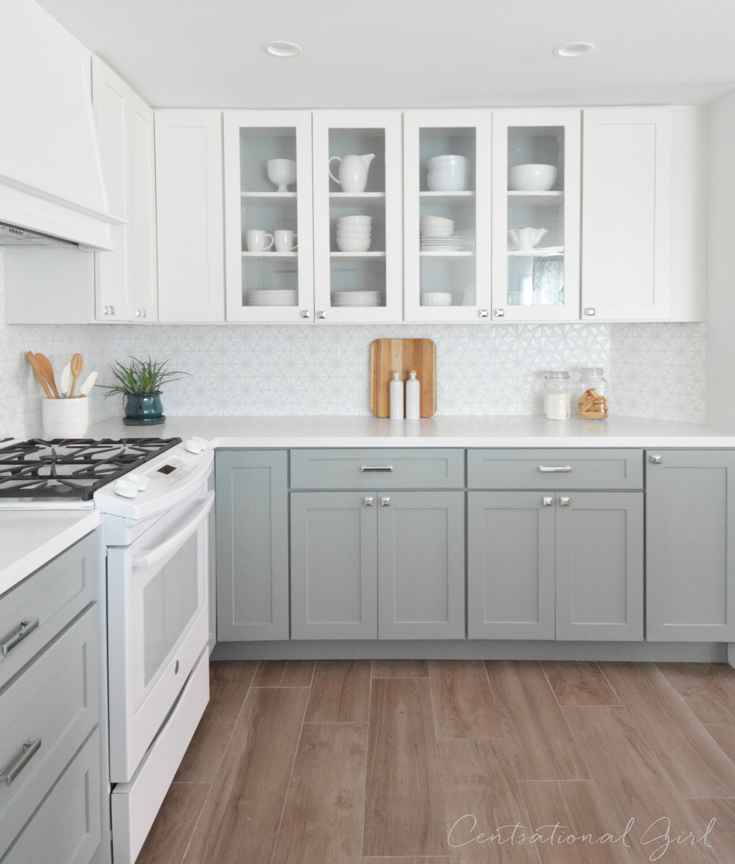 White Cabinets And Grey Countertops Kitchen Remodel Centsational Style