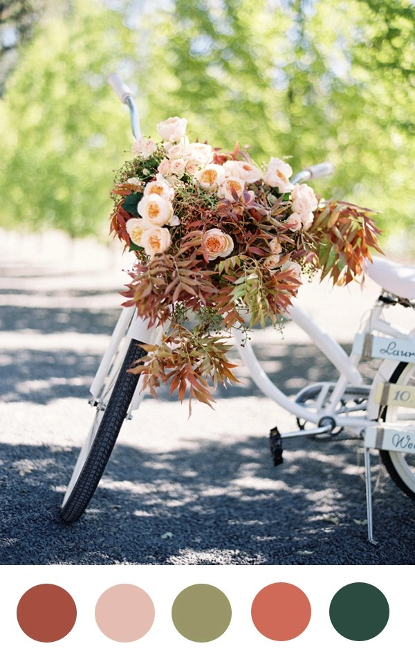 roses and fall leaves bicycle
