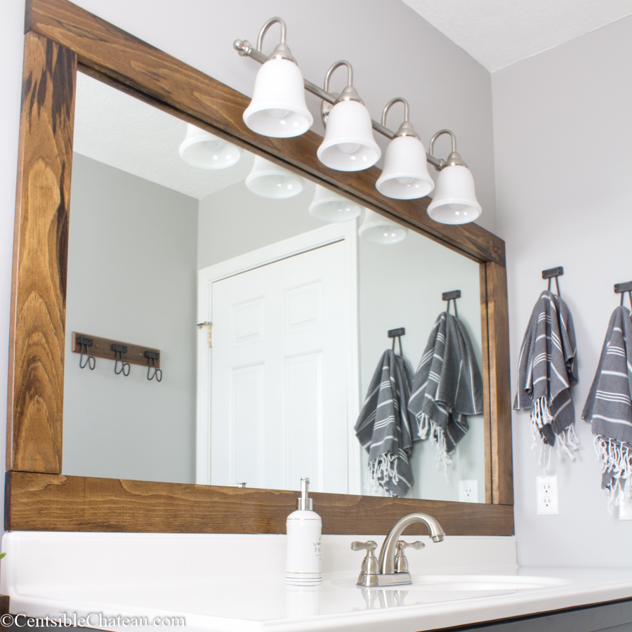 How To Frame A Builder Grade Bathroom Mirror For 25 Or Less