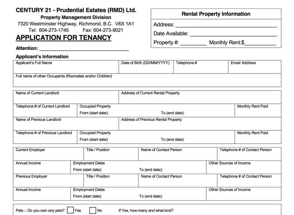 Rental Forms  Documents \u2013 Century 21 Prudential Estates Richmond BC