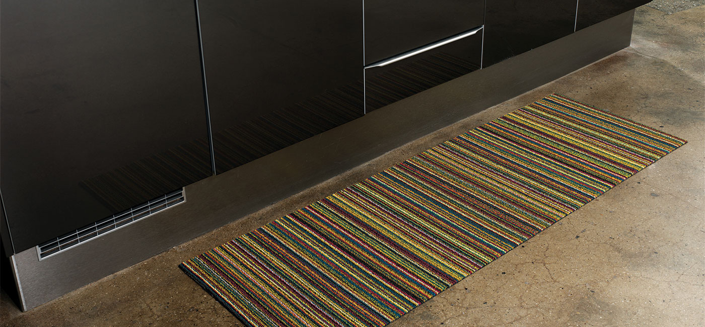 shag indoor outdoor runner in bright multi skinny stripe in kitchen