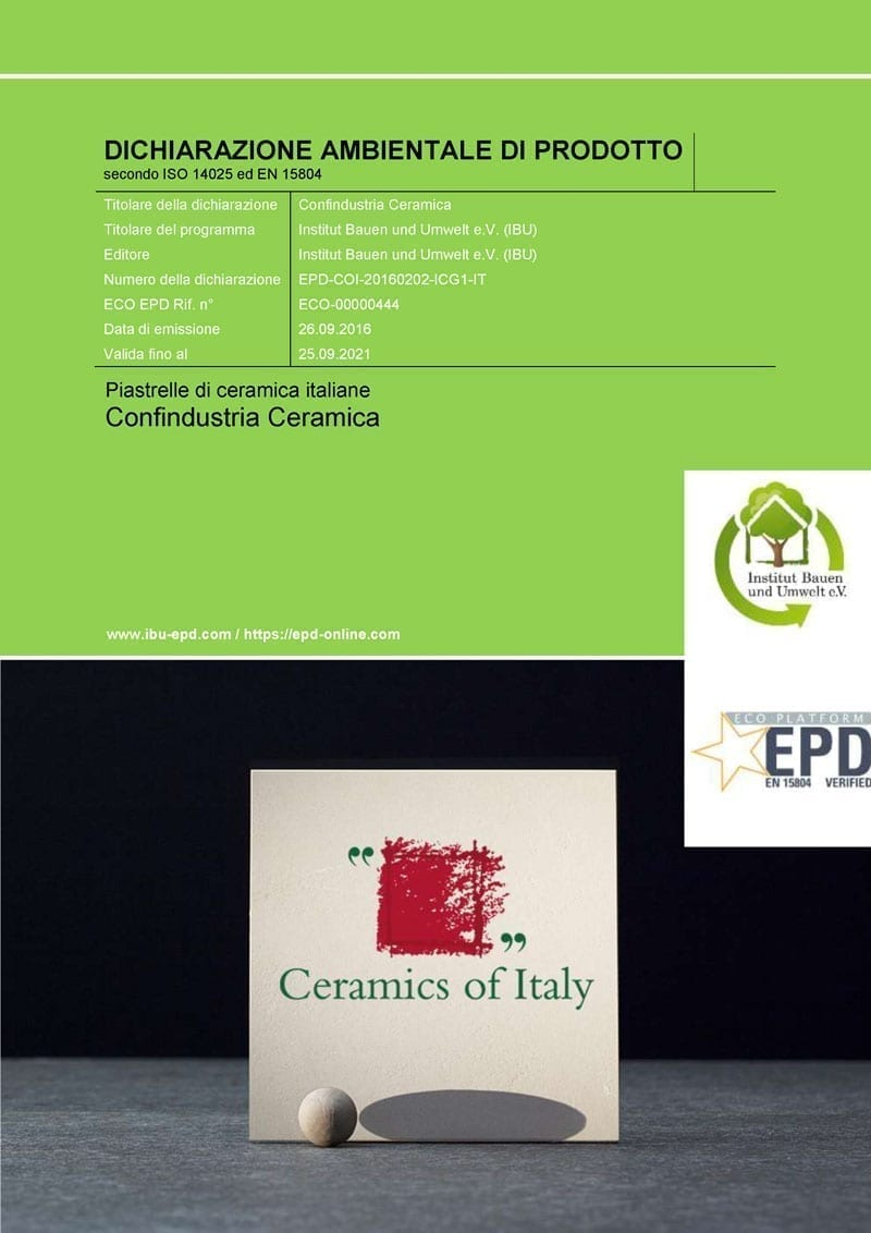 Piastrelle Ceramiche Italiane Environmental Product Declaration Epd Delle Superfici Ceramiche
