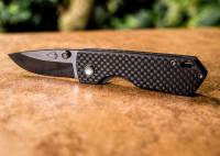 Carbon Fiber Handled Pocket Knife 2 Blade | Ceramic Knife.org