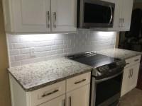 Beveled Glass Subway Tile Backsplash
