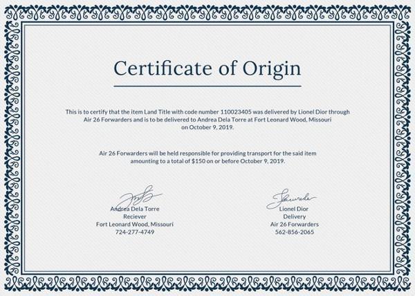 Certificate of Origin Certificate Of