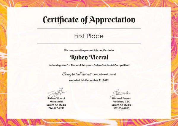 Free Sample Certificate of Appreciation Certificate Of
