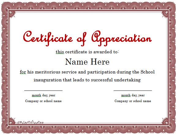 Free Sample Certificate of Appreciation Certificate Of