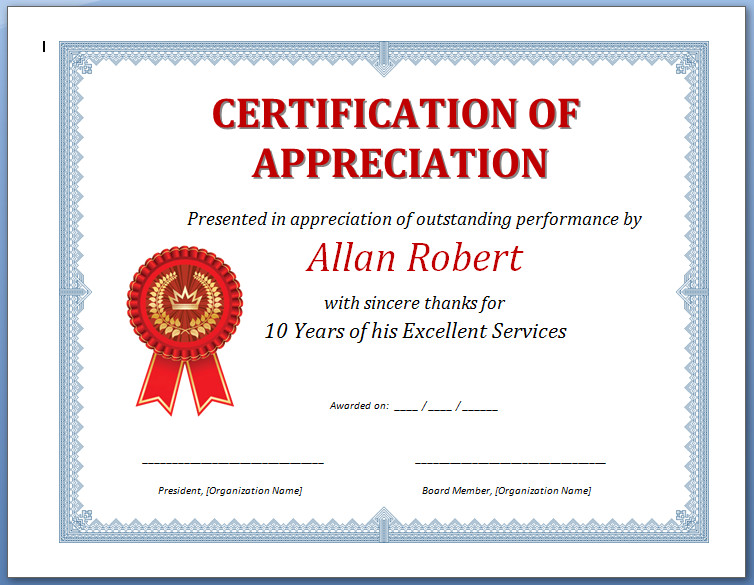 Certificate of Appreciation Certificate Of - certificate of appreciation examples
