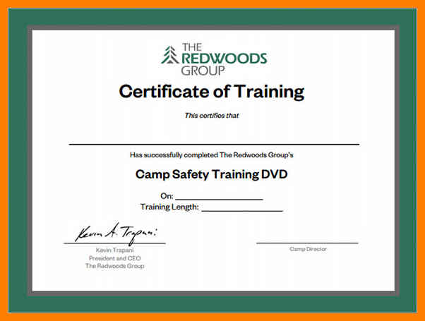 Certificate of Training Certificate Of