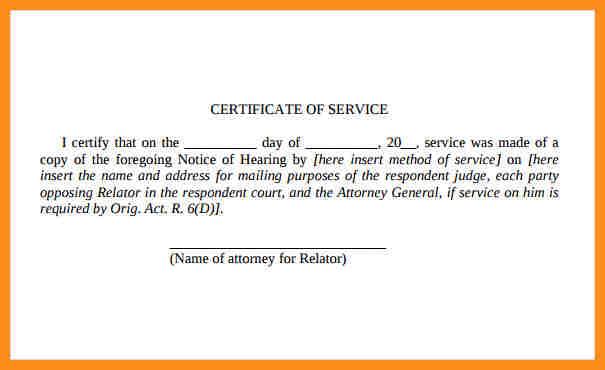 Certificate of service Certificate Of