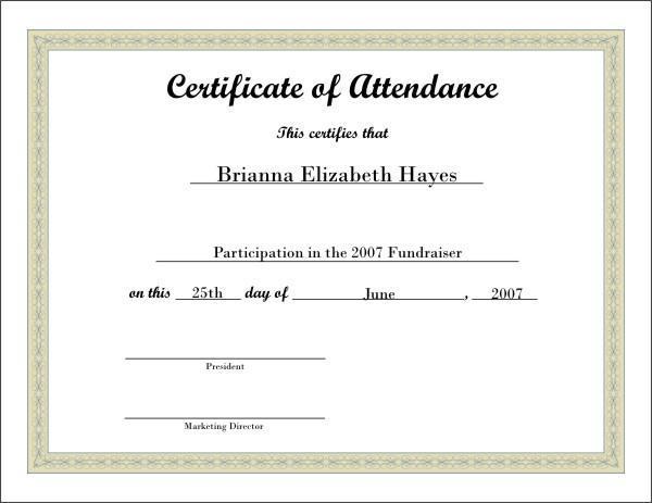 Certificate of Attendance Template Certificate Of - certificate template doc