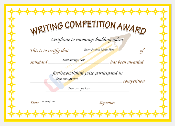 competition certificate