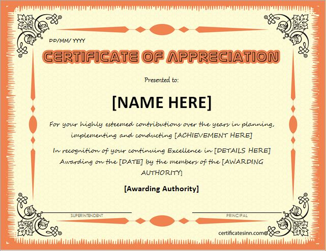 Certificates of Appreciation Templates for WORD Professional - certificate of appreciation