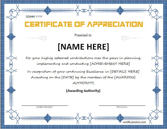 Certificates of Appreciation Templates for WORD Professional - certificate of excellence template word