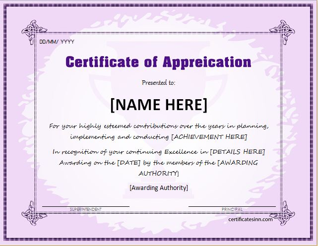 Certificates of Appreciation Templates for WORD Professional - Certificate Of Appreciation Words