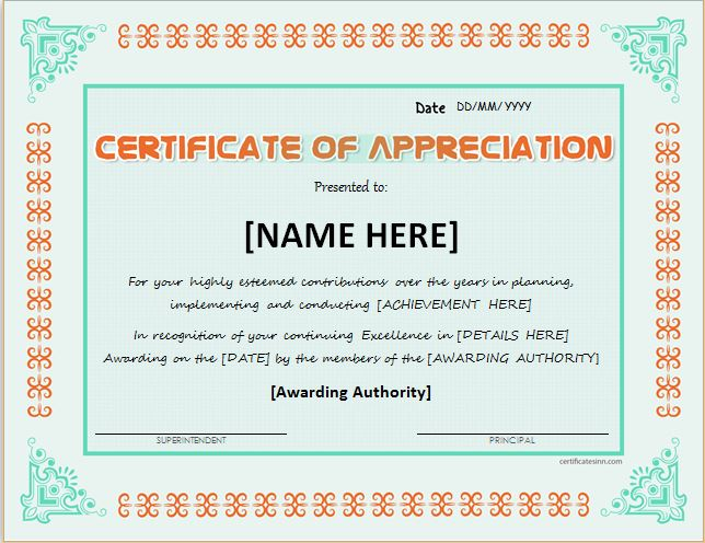Certificates of Appreciation Templates for WORD Professional - recognition certificates for students