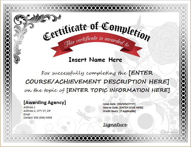 Certificates of Completion Templates for MS WORD Professional - certificate of completion template word