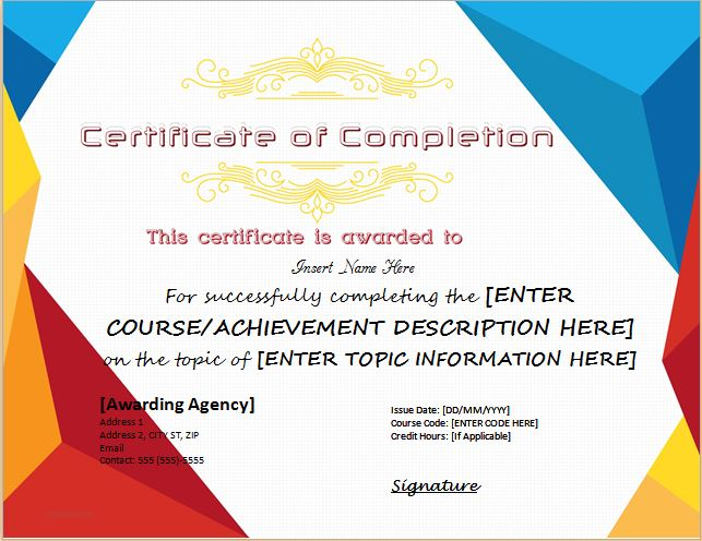 Certificates of Completion Templates for MS WORD Professional