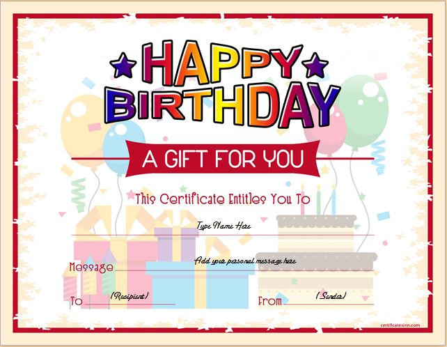 Birthday Gift Certificate Sample Templates for WORD Professional - gift certificate template word 2003