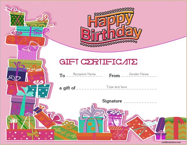 Birthday Gift Certificate Sample Templates for WORD Professional - birthday gift certificate