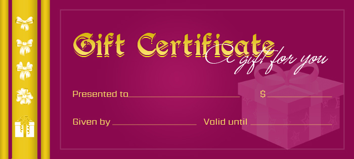 Business Gift Certificates for All Events Professional Certificate