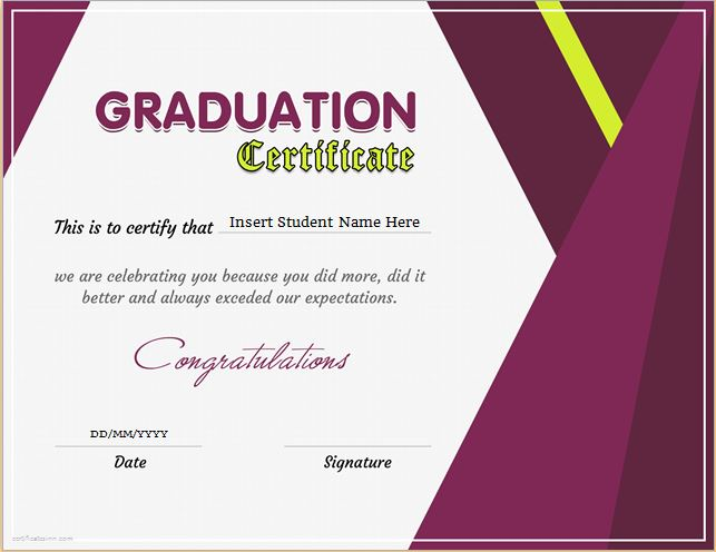 certificates of graduation