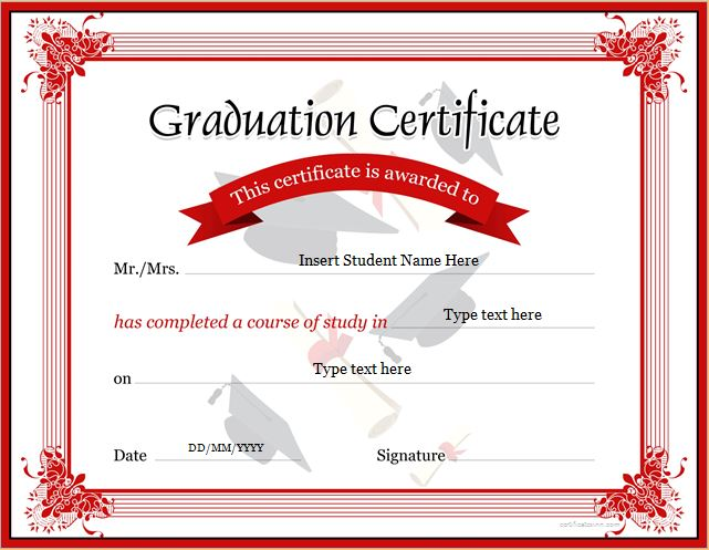 Graduation Certificate Templates for MS WORD Professional - certificate of excellence template word