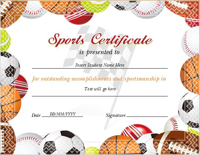 Sports Certificate Templates for MS WORD Professional - school certificate templates